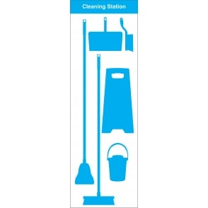 Shadow Board Cleaning Station Broom, Mop, Bucket and Floor Sign
