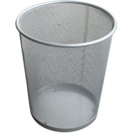 Silver Metal Waste Paper Baskets Pk. 5 Cap: 14lt