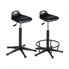 Sit Stand Posture Stool with glides & optional foot-ring
