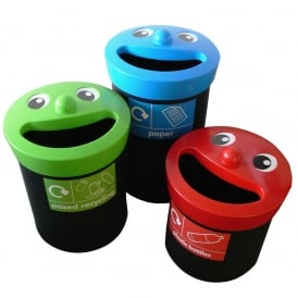 Smiley Face Novelty Recycling Bins Cap: 41lt, 52lt or 62lt