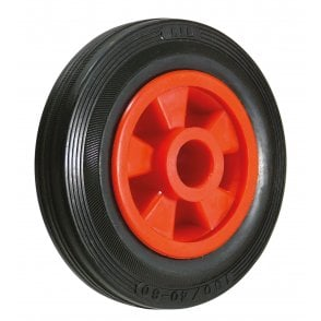Solid Rubber Wheels Plastic Centre Plain Bearing