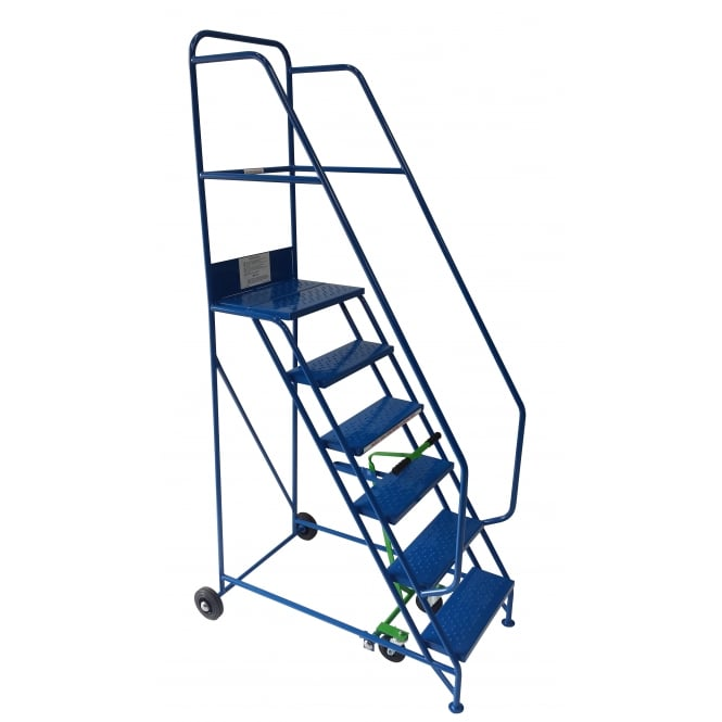 Steel Mobile Safety Warehouse Steps 3 to 15 Tread with Punched Steel or PVC Treads
