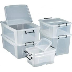 Storemaster Clear Storage Boxes with detachable hinged lid