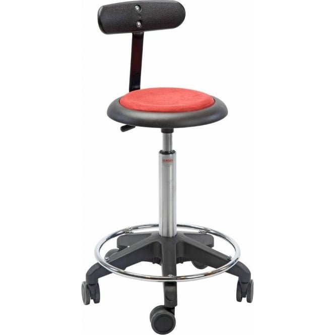 Swivel Stool with backrest, castors & foot-ring