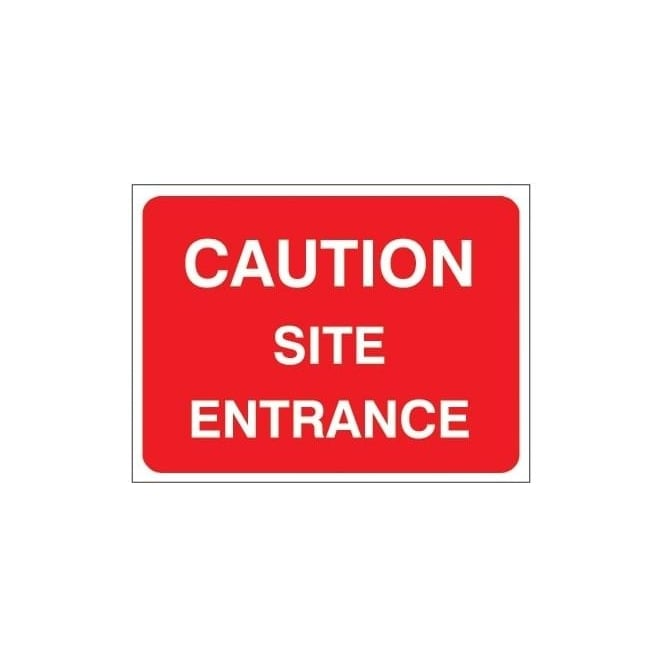 Temporary Roadwork Sign: CAUTION SITE ENTRANCE