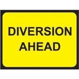 Temporary Roadwork Sign: DIVERSION AHEAD