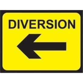 Temporary Roadwork Sign: DIVERSION (LEFT ARROW)