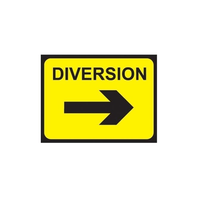 Temporary Roadwork Sign: DIVERSION (RIGHT ARROW)