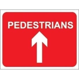 Temporary Roadwork Sign: PEDESTRIANS (AHEAD ARROW)