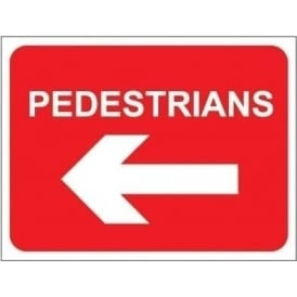 Temporary Roadwork Sign: PEDESTRIANS (LEFT ARROW)