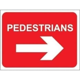 Temporary Roadwork Sign: PEDESTRIANS (RIGHT ARROW)