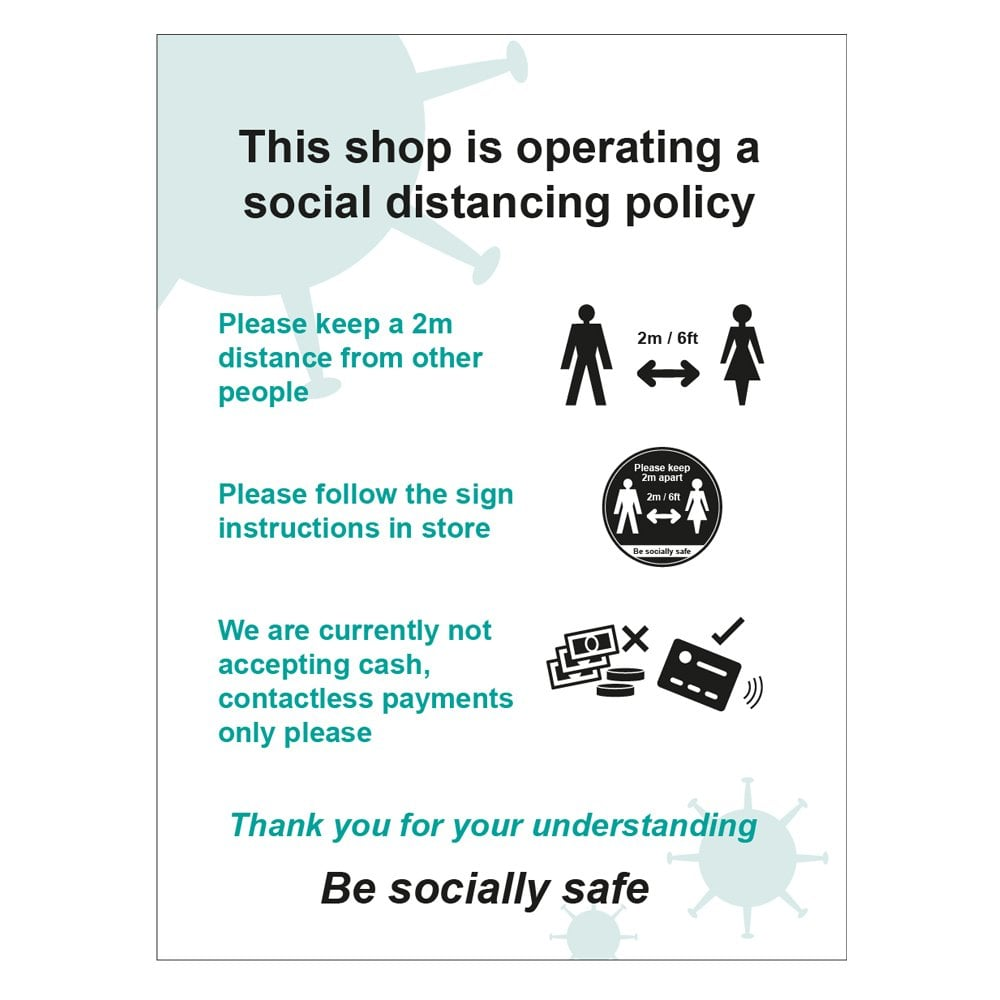 Social Distancing Policy Store Sign