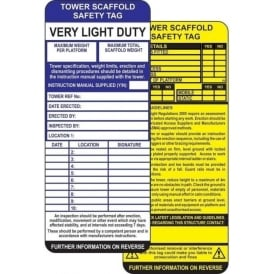 Tower Scaffold Safety Tags