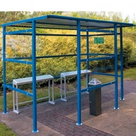 Traditional Smoking Shelter with perspex sides & back panel