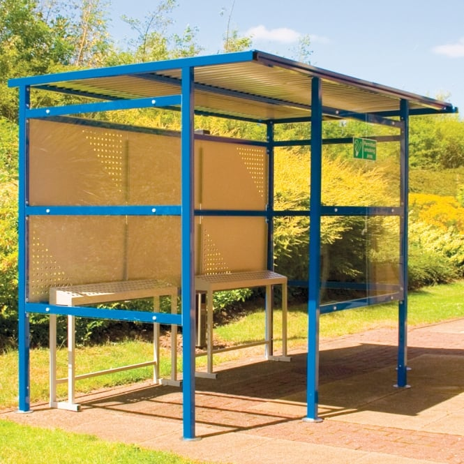 Traditional Smoking Shelter with perspex sides & steel back panel