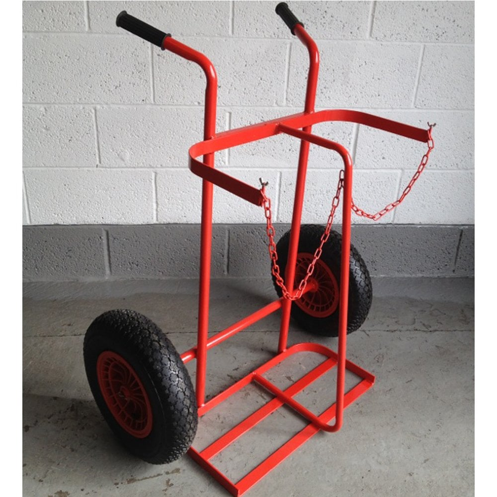 Twin Oxygen or Acetylene Cylinder Trolley with Large Pneumatic Wheels