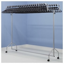 Twin Top Mobile Garment Rail with Anti-theft Coat Hangers