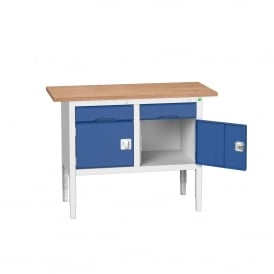 Verso 1250mm Wide Storage Workbench with 2 Cupboards + 2 Drawers