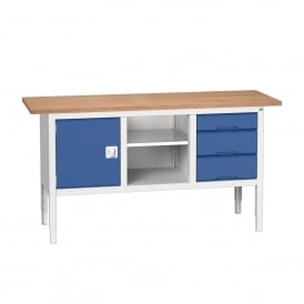 Verso 1750mm Wide Storage Workbench with 1 Cupboard, 1 Shelf + 3 Drawers