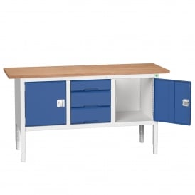 Verso 1750mm Wide Storage Workbench with 2 Cupboards + 3 Drawers