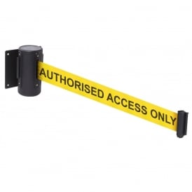 WallMaster Wall Mounted Retractable Belt Barriers with Printed Messages