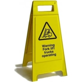 Warning Forklift Trucks Operating Free Standing Floor Sign