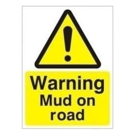 Warning Mud on Road Sign