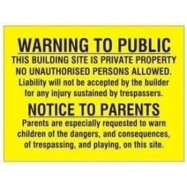 Warning to Public / Parents Sign