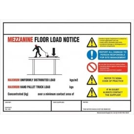 Weight Load Notices - Mezzanine Floor