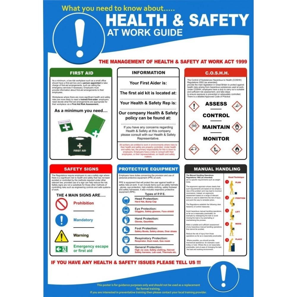 Health Amp Safety At Work Guide Poster Pvc Plastic Parrs