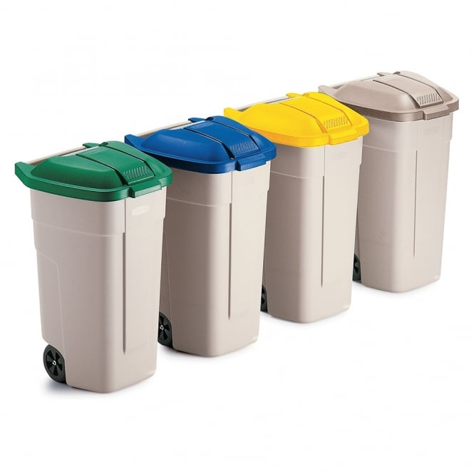Wheelie Bins with Coloured Lid for Recycling Cap: 100lt
