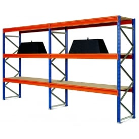 Wide Span Shelving with chipboard or galvanised steel shelves