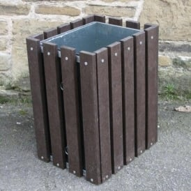 Wood Effect Round or Square Slatted Litter Bins Cap: 90lt