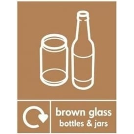 Wrap Recycling Labels & Signs: Brown Glass Bottles & Jars