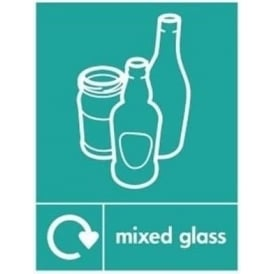 Wrap Recycling Labels & Signs: Mixed Glass