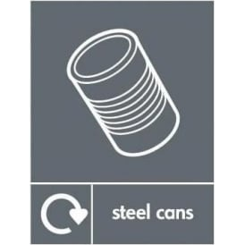 Wrap Recycling Labels & Signs: Steel Cans