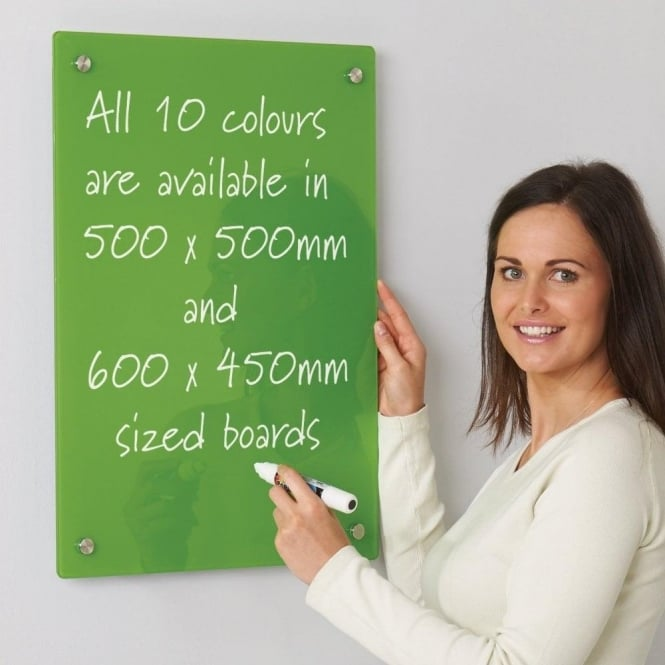 Write-On Coloured Glass Dry Wipe Boards