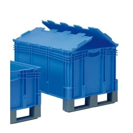 XL Euro Containers with fork entry shoes and attached hinged lid